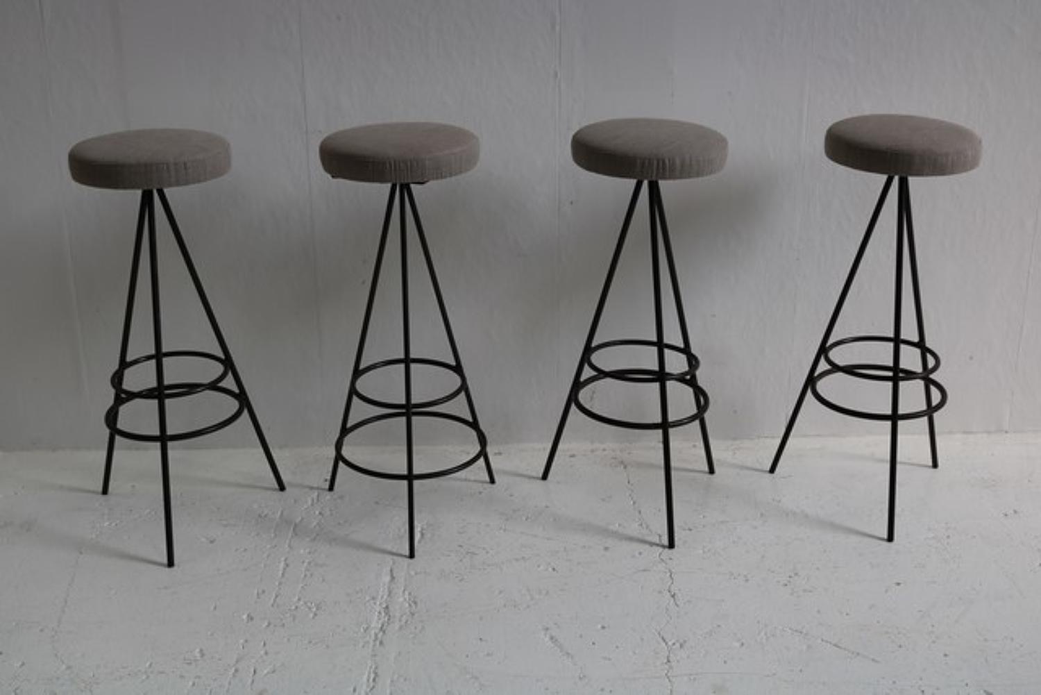 Set of 4 mid 20th century bar stools