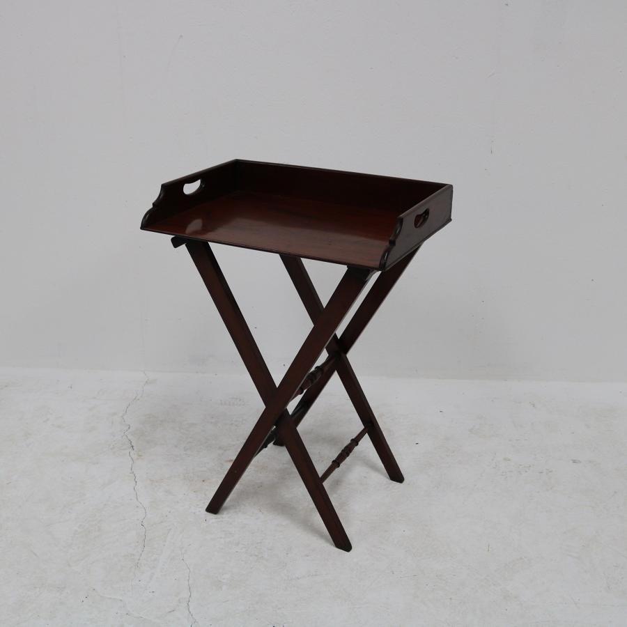 An English mahogany butlers tray table circa 1840