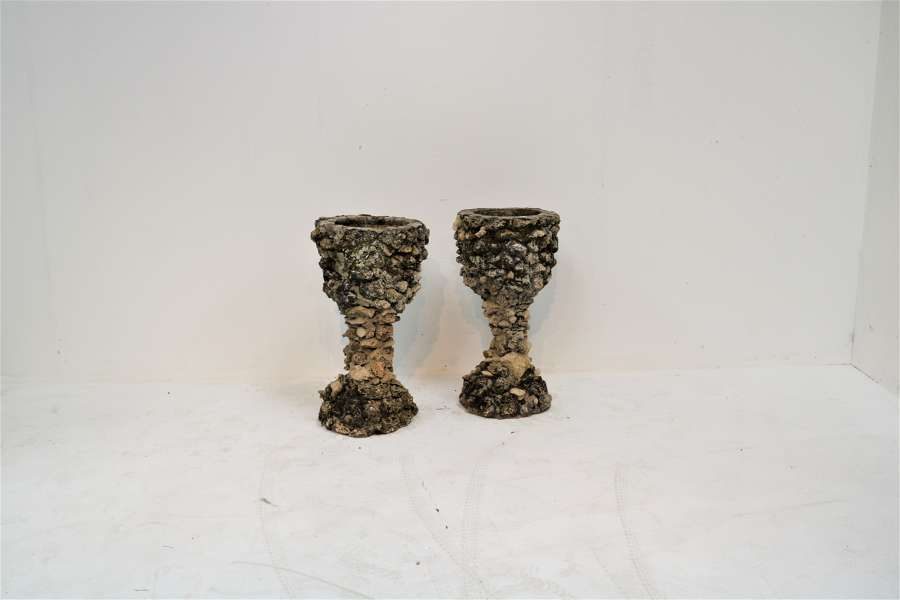 A pair of early 20th century grotto planters/urns