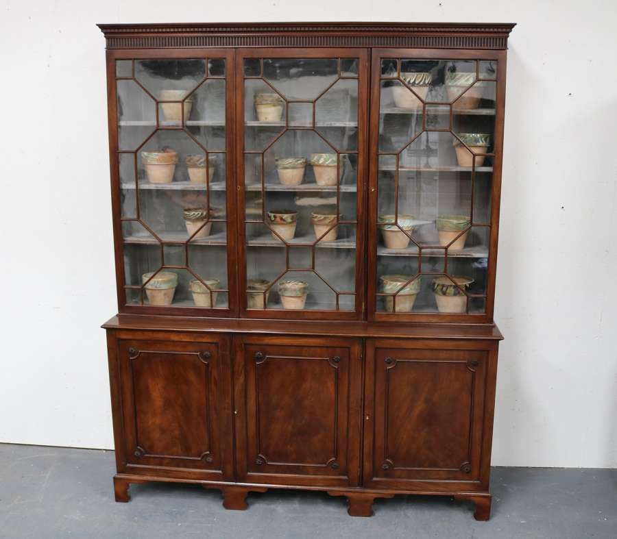An English mahogany 3 door bookcase circa 1920