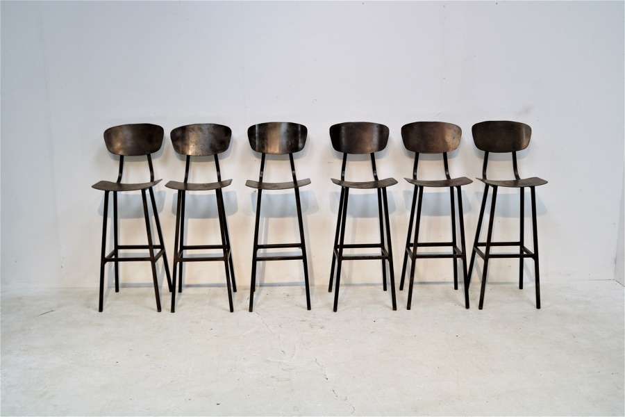 20th century industrial metal bar stools