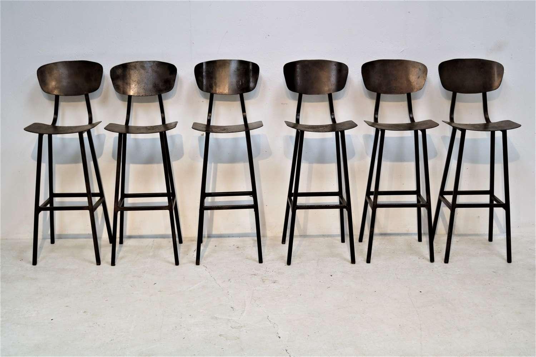 20th century industrial metal bar stools
