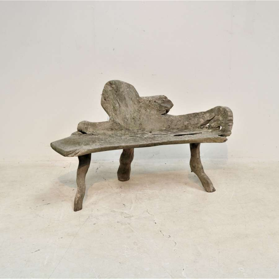 An English rustic oak garden bench