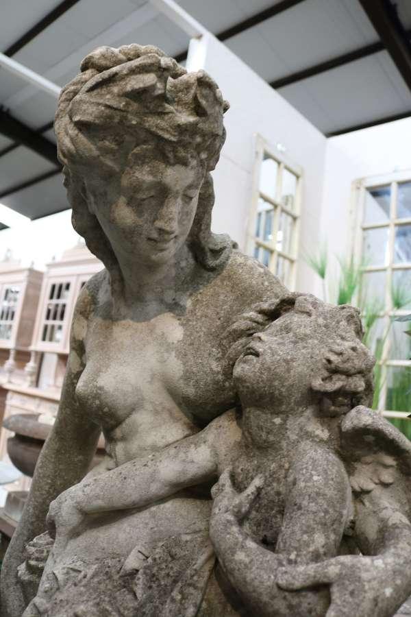 Mid century composite stone statue 'Venus disarming Cupid'