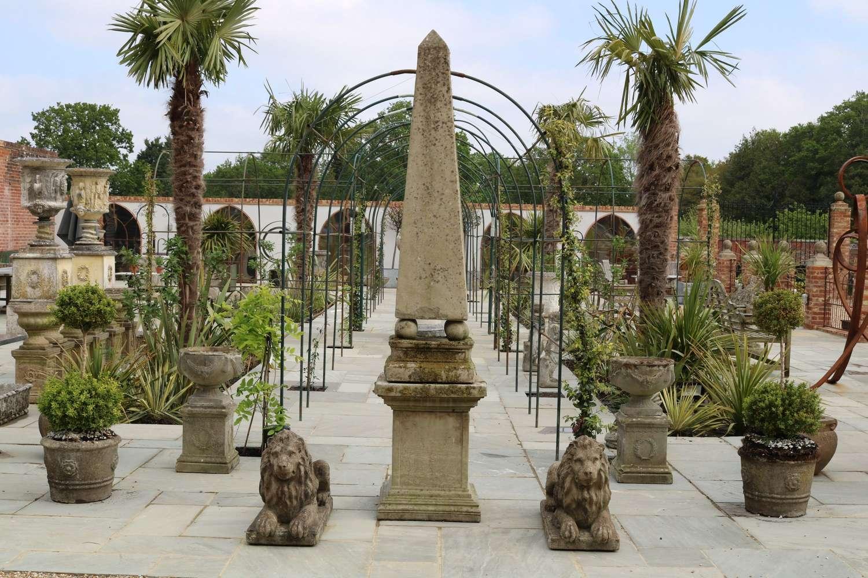 Large composite stone obelisk